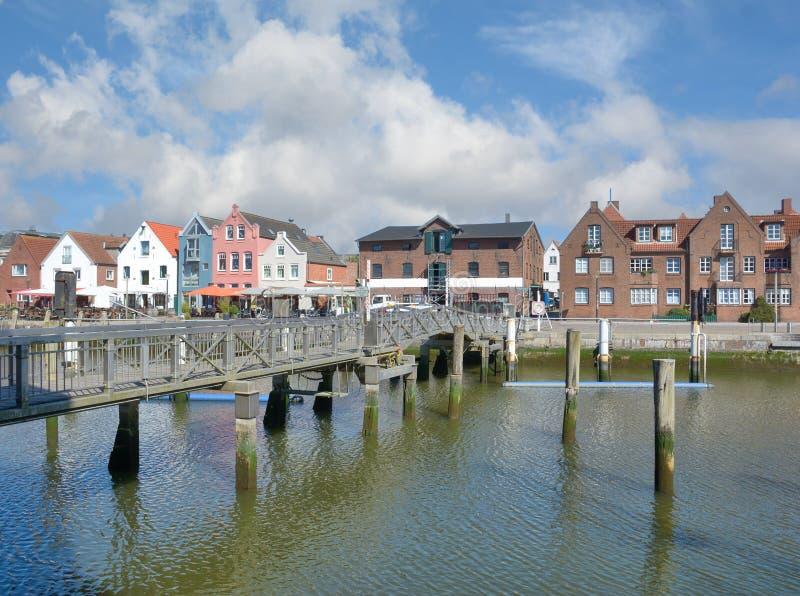 Porto di Husum, Frisia del nord, Germania immagini stock libere da diritti