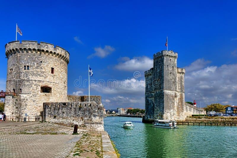 Porto di La Rochelle Fortified Entrance in Francia fotografia stock