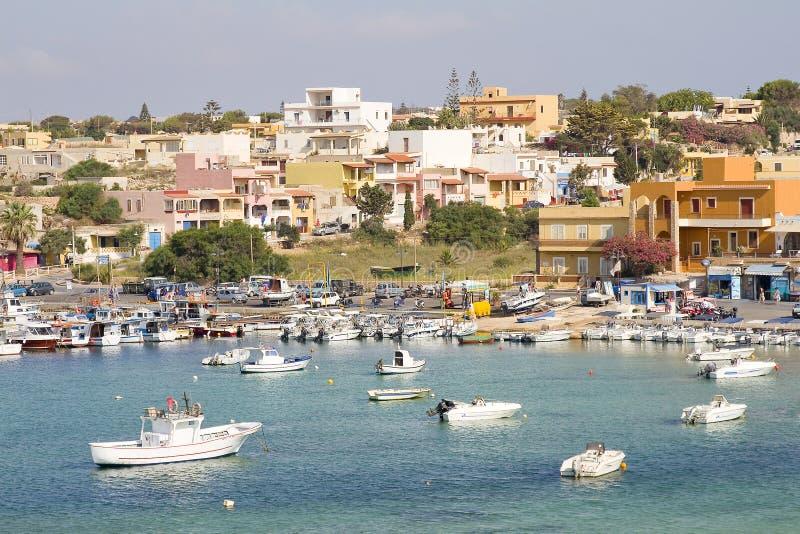 Porto di Lampedusa fotografie stock libere da diritti