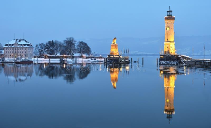 Porto di Lindau al crepuscolo immagini stock