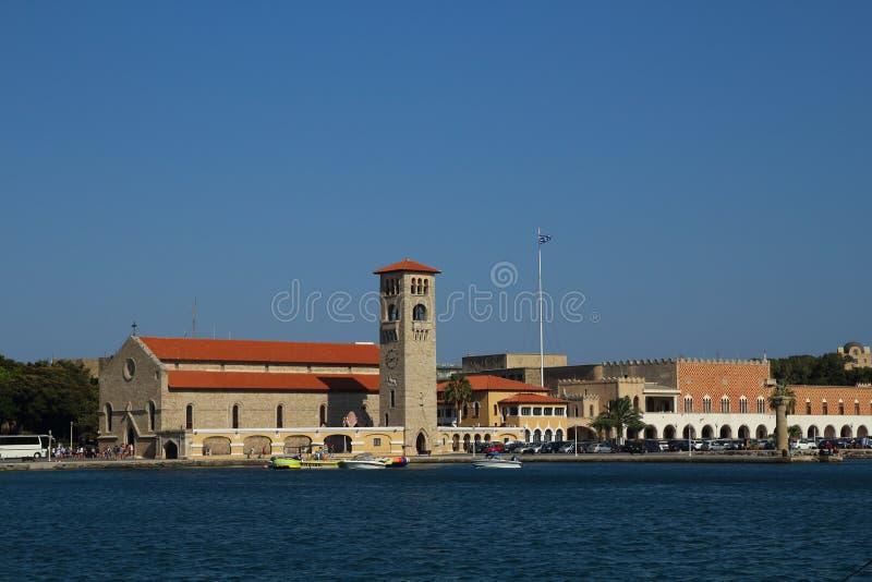 Porto di Mandraki in Rodi, Grecia immagini stock libere da diritti