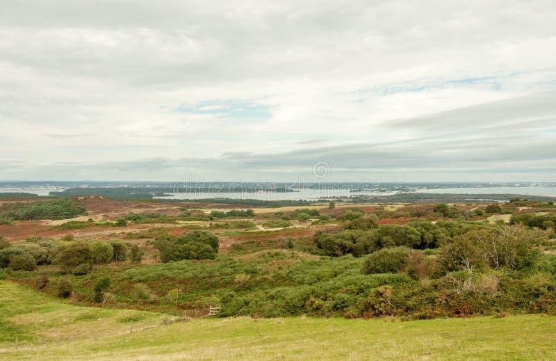 Porto di Poole e la campagna di Dorset un giorno del ` s di estate nella campagna inglese fotografia stock