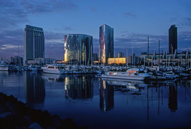 Porto di San Diego al crepuscolo fotografia stock libera da diritti
