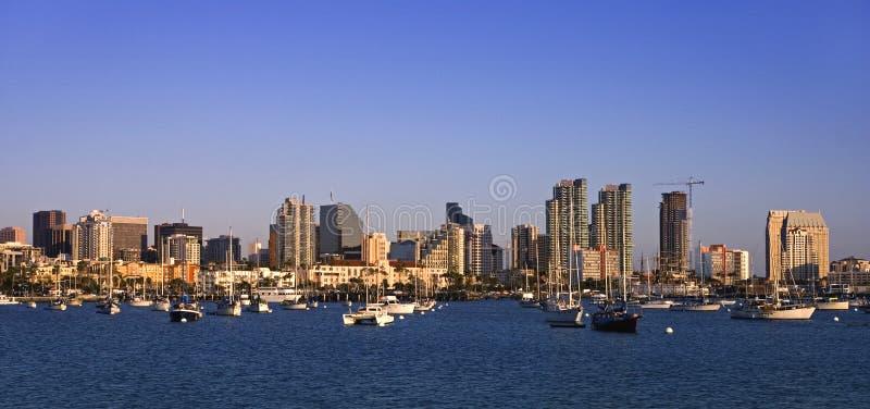 Porto di San Diego nella sera immagini stock libere da diritti