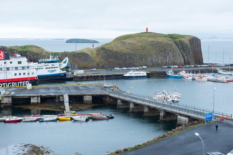 Porto di Stykkisholmur, penisola di Snaefellsnes, Islanda fotografia stock libera da diritti