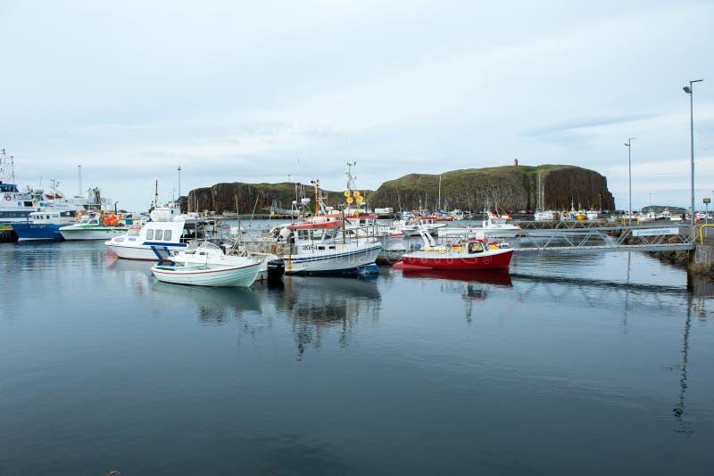 Porto di Stykkisholmur, penisola di Snaefellsnes, Islanda fotografia stock