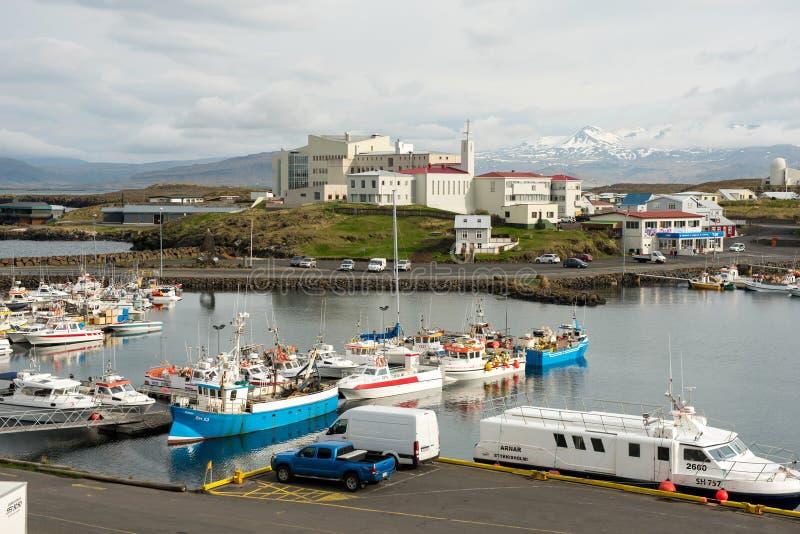 Porto di Stykkisholmur, penisola di Snaefellsnes, Islanda immagini stock libere da diritti