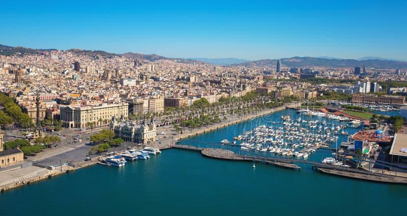 Porto do porto de Barcelona de cima de foto de stock