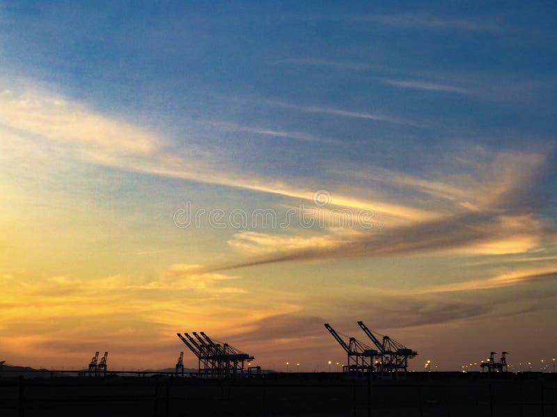 Porto do por do sol de Oakland foto de stock royalty free