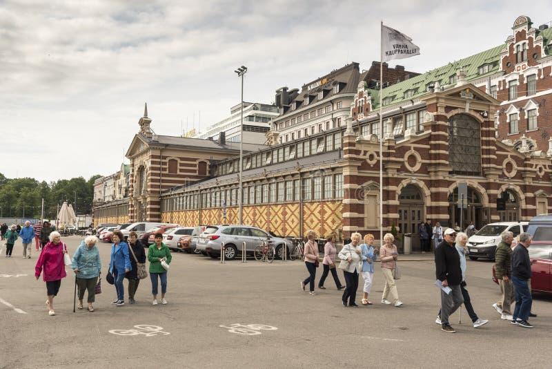 Porto do século XIX de Helsínquia da construção do mercado fotografia de stock