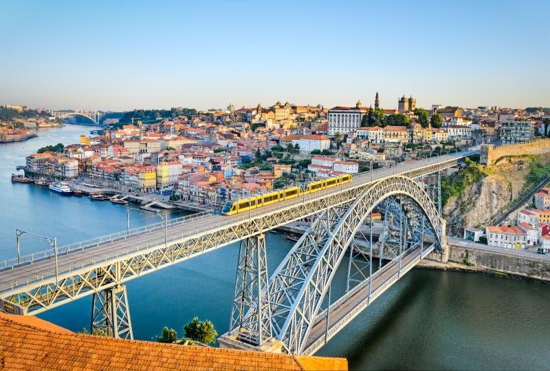 Porto with the Dom Luiz bridge, Portugal royalty free stock images