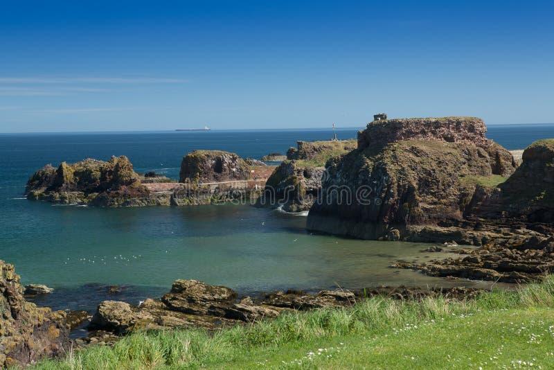 Porto e castelo de Dunbar imagem de stock