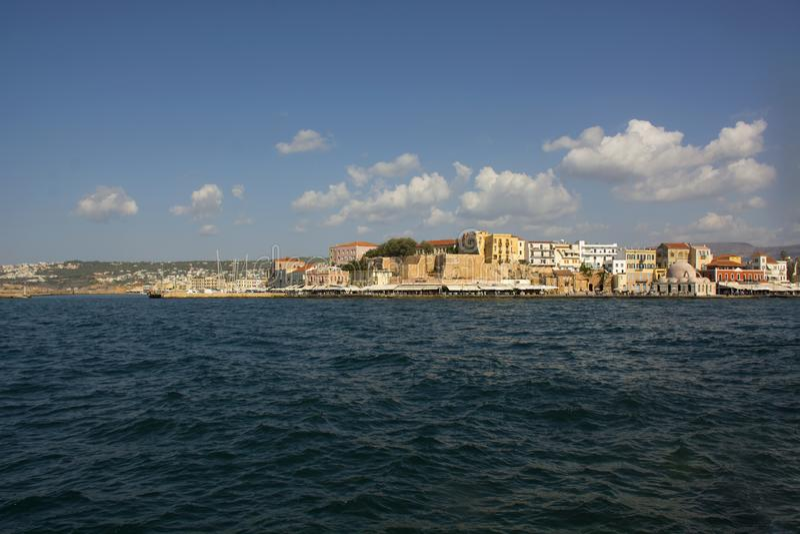 Porto e porto Venetian da cidade velha de Chania Ilha da Creta de Grécia fotografia de stock