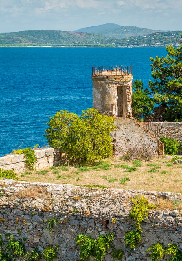 A sunny summer landscape near Porto Ercole, in Monte Argentario, in the Tuscany region of Italy. stock photography