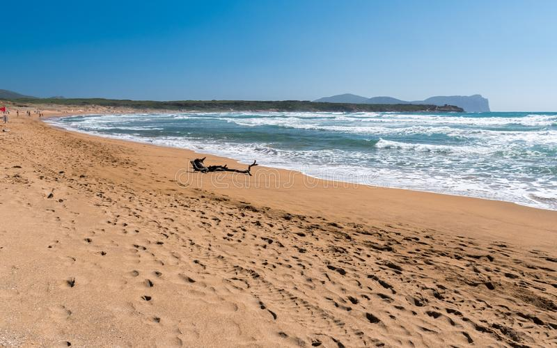 The Porto Ferro beach north-western Sardinia during a windy summer day with rough sea royalty free stock photos
