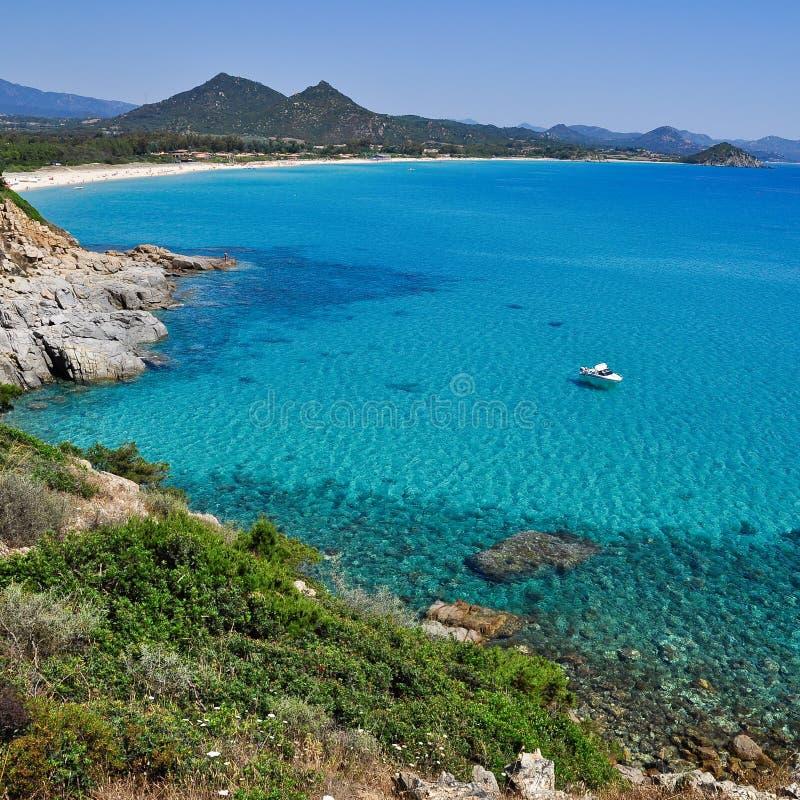 Porto Giunco, Villasimius, in Sardinia, Italy. View of beautiful sea of Porto Giunco, Villasimius, in Sardinia, Italy stock images