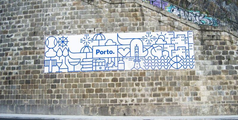 Porto gravure op muur royalty-vrije stock afbeeldingen