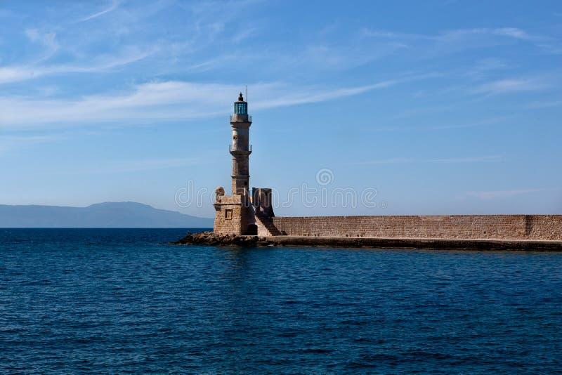 Porto Hania da casa clara, Creta, Grécia imagem de stock royalty free