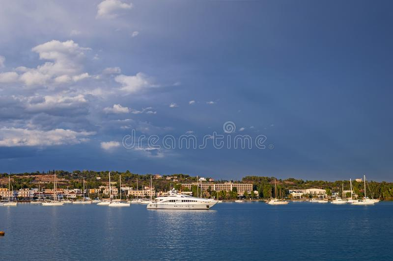Porto-Heli bay at Peloponnese, Greece. View of Porto-Heli bay at Peloponnese, Greece royalty free stock photo