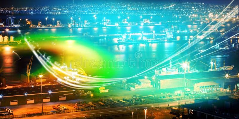 Porto iluminado contra a arquitetura da cidade ilustração do vetor