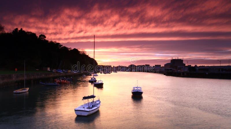 Porto Inghilterra di Weymouth di tramonto fotografia stock libera da diritti