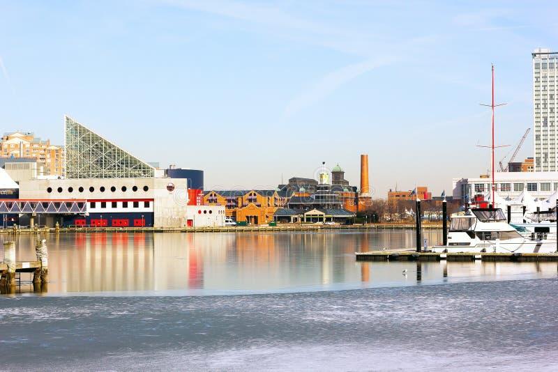Porto interno de Baltimore no inverno imagem de stock
