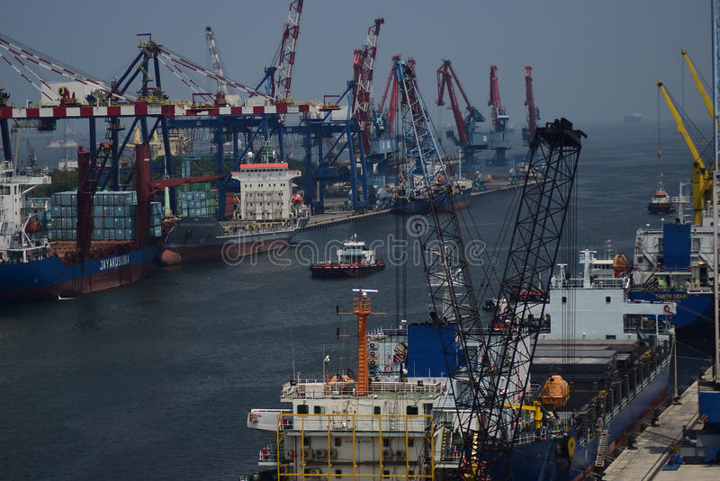 Porto jakarta de Tanjung Priok imagens de stock royalty free