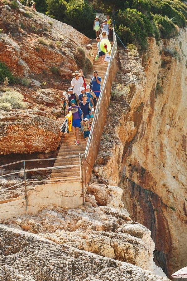 PORTO KATSIKI BEACH June 28,2017 . Walking down the stairs on the Porto Katsiki, Lefkada Greece royalty free stock image