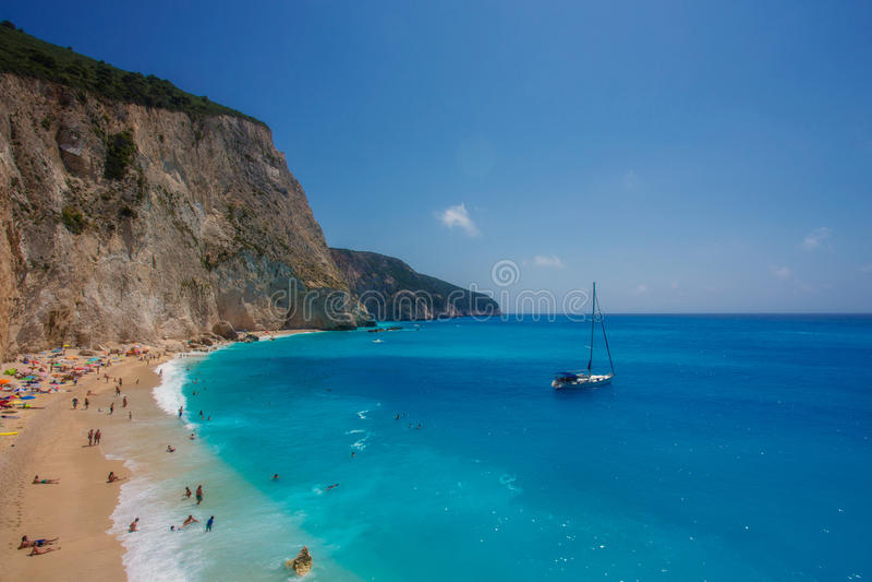 The Porto Katsiki beach (Lefkada) royalty free stock photos