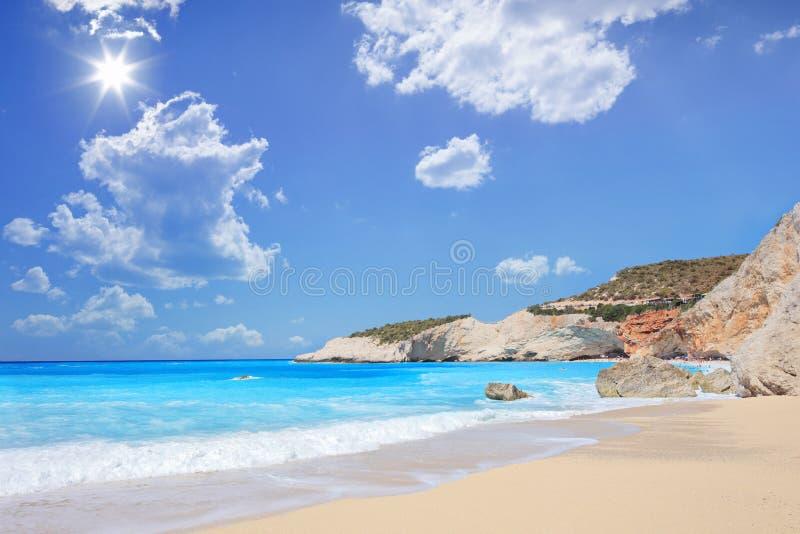 Porto Katsiki beach on a summer day, Lefkada island royalty free stock images