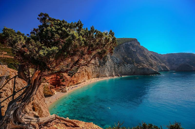 Porto Katsiki, eiland Lefkafa, Griekenland stock afbeeldingen