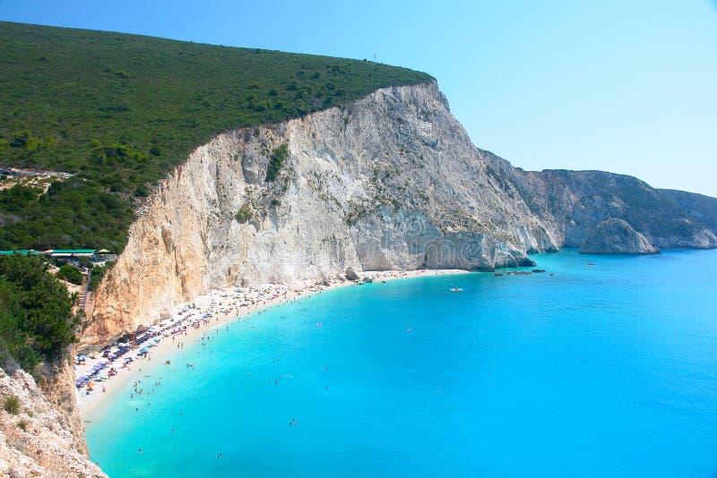 Porto Katsiki in het eiland Griekenland van Lefkada royalty-vrije stock foto's