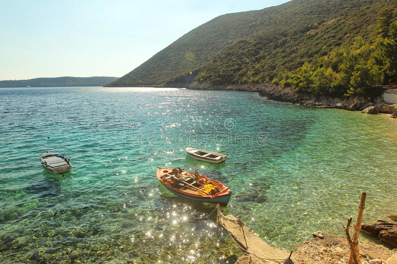 Porto katsiki lefkas Greece one of the most famous beaches in the world boat stock images