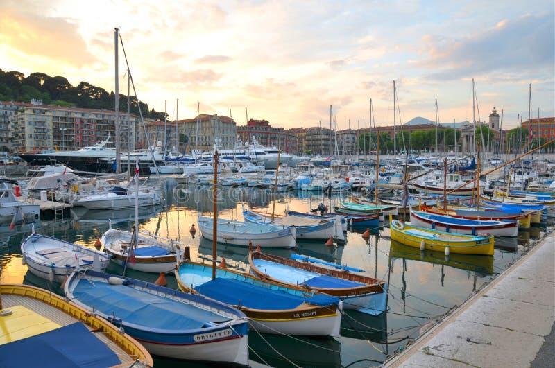 Porto Lympia, agradável, França imagens de stock royalty free