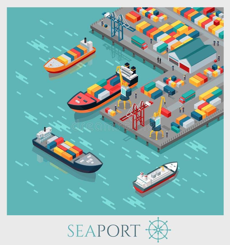 Porto marítimo comercial isométrico ilustração royalty free