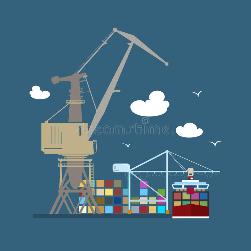 Porto marítimo da carga ilustração stock