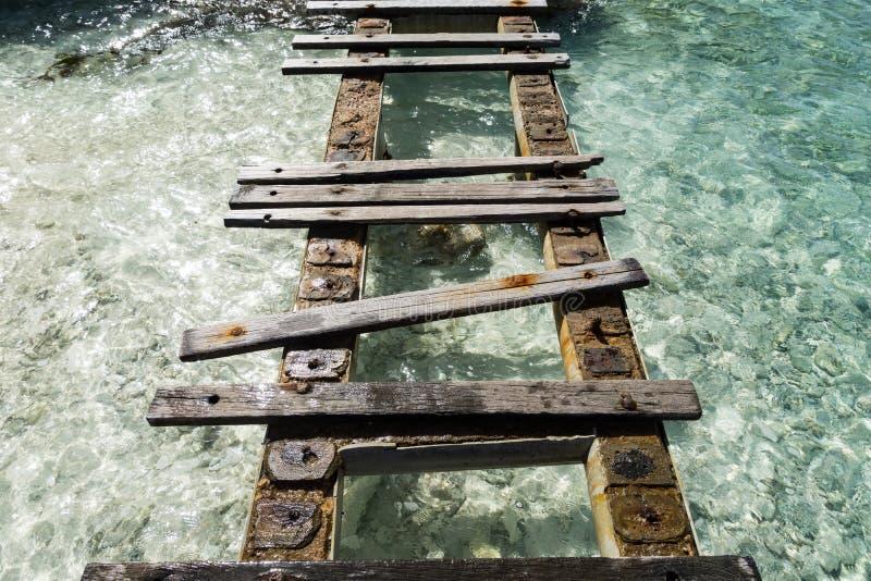 Porto Mari Beach - gammal pir royaltyfria foton