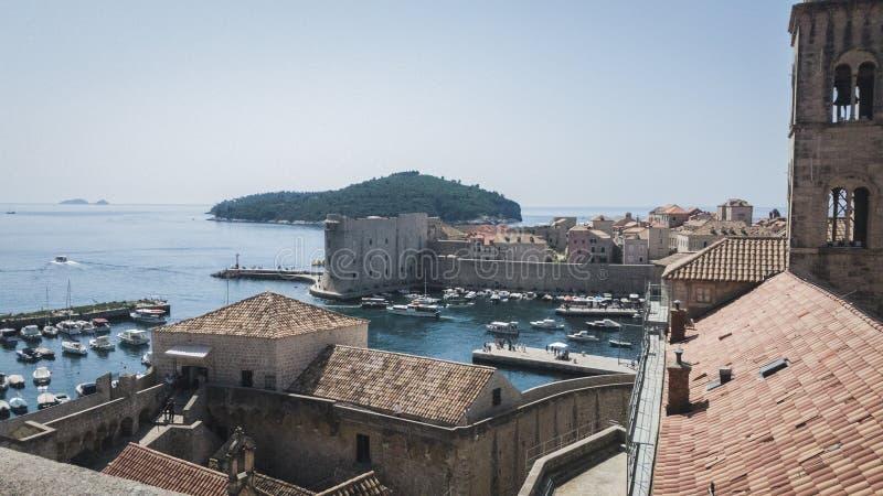 Porto medieval velho de Dubrovnik fotos de stock royalty free