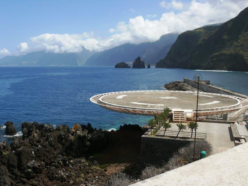 Porto Moniz Helihaven van het Eiland van Madera royalty-vrije stock foto's