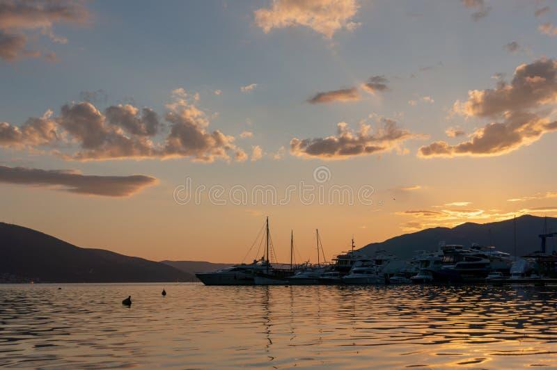 Porto Montenegro Jachty w porcie morskim Tivat miasto Kotor zatoka, Adriatycki morze s?awna miejsce przeznaczenia podr?? obrazy stock