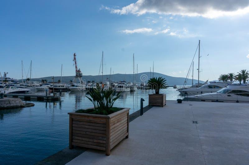 Porto Montenegro Jachty w porcie morskim Tivat miasto Kotor zatoka, Adriatycki morze s?awna miejsce przeznaczenia podr?? zdjęcia stock