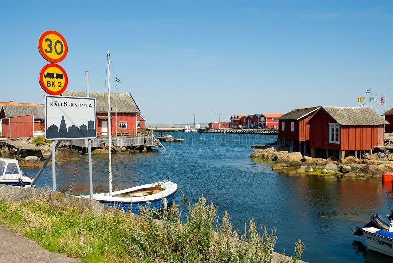 Porto na costa oeste na Suécia imagens de stock