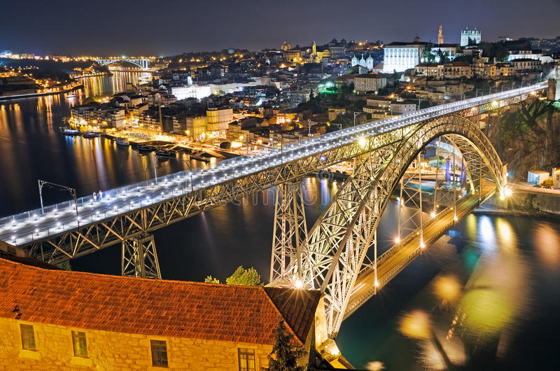 Porto at night. View on bridge Ponte dom Luis above river Douro and Old town Porto at night, Portugal royalty free stock photos