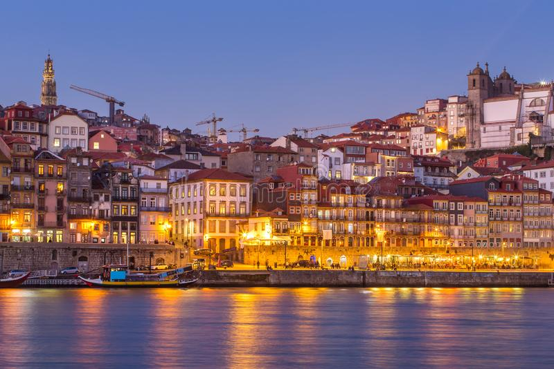 Porto old city skyline from across the Douro River at twilight. Portugal royalty free stock images