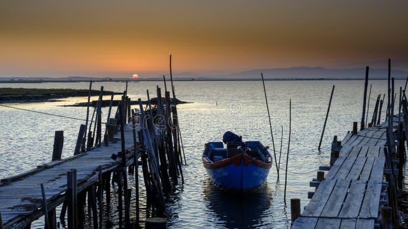 Porto Palafítico da Carrasqueira in the Reserva Natural do Estuário do Sado, Португалия стоковое фото