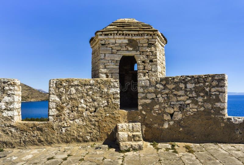 Porto Palermo slott som placeras i fjärden av Porto Palermo som tidigt byggs i det 19th århundradet av Ali Pasha av Tepelena, Alb arkivbilder