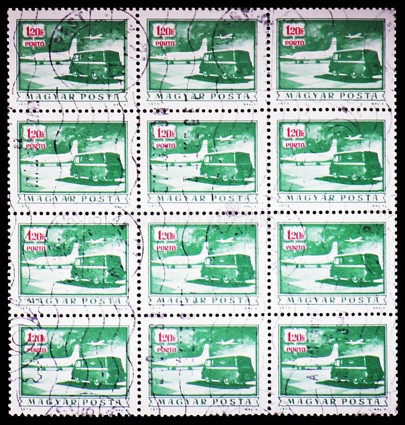 Porto passend - Postfläche und LKW, serie, circa 1973 lizenzfreie stockfotografie