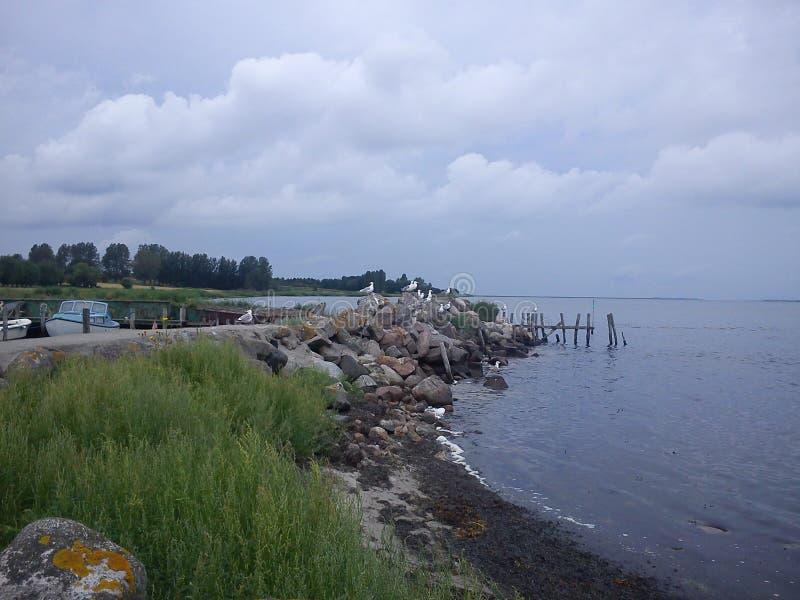 Porto pequeno, ilha em Dinamarca imagens de stock royalty free