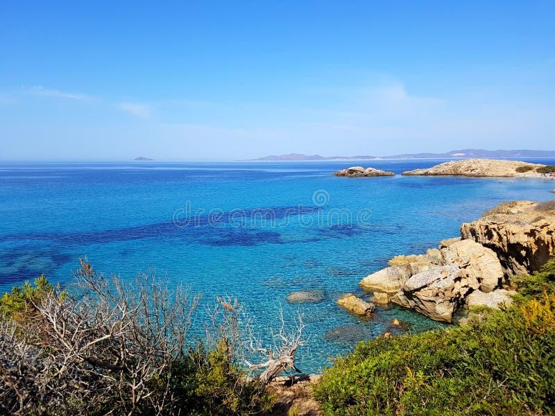 Porto Pinetto zeegezicht, Sardinige Italië stock afbeeldingen