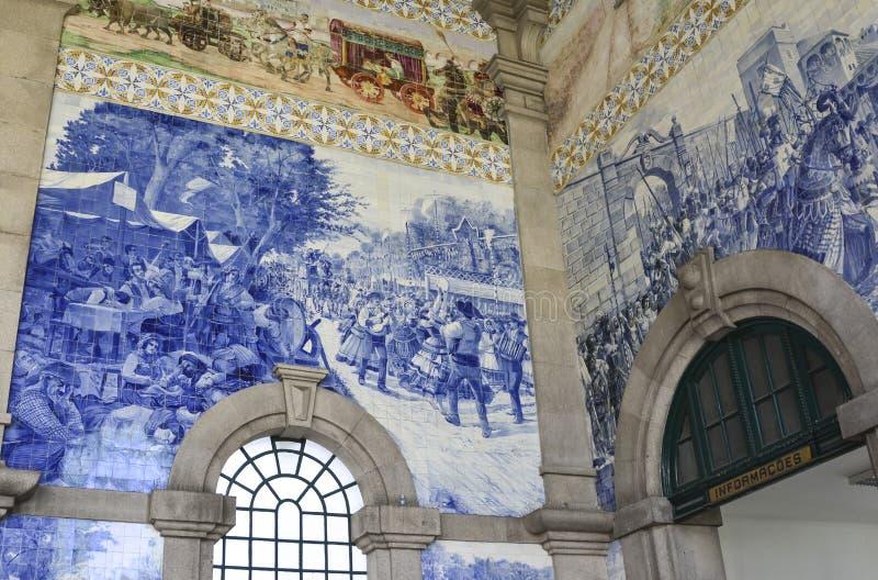 PORTO, PORTUGAL - AUGUST 12, 2017: Famous railway station Sao Bento with Azulejo panels royalty free stock photo